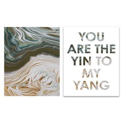 Poszter szett, keret nélkül, 40x50 cm, zöld-sárga - YING YANG